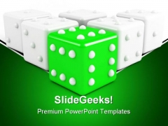 Green Leading Dice Winning Leadership PowerPoint Templates And PowerPoint Backgrounds 0211