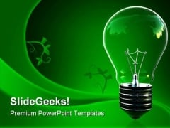 Green Light Eco Bulb Environment PowerPoint Themes And PowerPoint Slides 0511