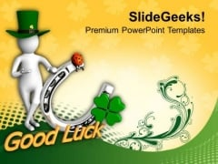 Green Man Showing Good Luck Symbol PowerPoint Templates Ppt Backgrounds For Slides 0313