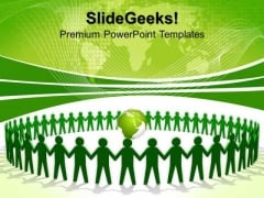 Green People Holding Hands Teamwork PowerPoint Templates And PowerPoint Themes 0812