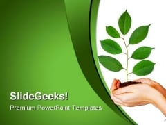 Green Plant In Hands Nature PowerPoint Templates And PowerPoint Backgrounds 0611