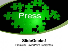 Green Puzzles Forming Word Press PowerPoint Templates Ppt Backgrounds For Slides 0213