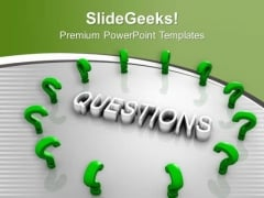 Green Question Marks Around Word Question PowerPoint Templates Ppt Backgrounds For Slides 0313