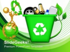 Green Recycle Bin Icons Environment PowerPoint Templates And PowerPoint Themes 0912