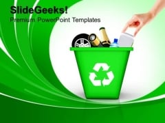 Green Recycle Bin Recycling Geographical PowerPoint Templates And PowerPoint Themes 1012