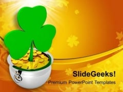 Green Shamrock With Gold Coins PowerPoint Templates Ppt Backgrounds For Slides 0313