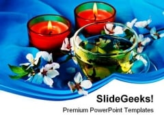 Green Tea With Candles Lifestyle PowerPoint Templates And PowerPoint Backgrounds 0311
