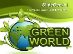 Green World01 Enviroment PowerPoint Template 0910