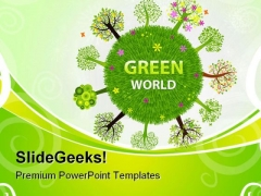 Green World Globe PowerPoint Themes And PowerPoint Slides 0411