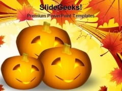 Halloween Pumpkins Nature PowerPoint Template 1010
