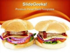 Hamburger Food PowerPoint Template 0810