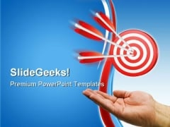 Hand And Arrow Target Business PowerPoint Themes And PowerPoint Slides 0811