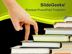 Hand And Book Stairs Education PowerPoint Backgrounds And Templates 1210