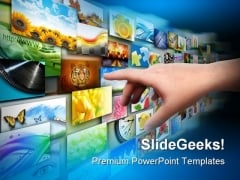 Hand On Media Technology PowerPoint Templates And PowerPoint Backgrounds 0611
