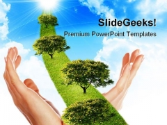 Hand With Line Of Grass Nature PowerPoint Themes And PowerPoint Slides 0411