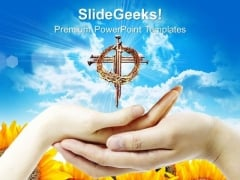 Hands And Cross Christian PowerPoint Templates And PowerPoint Themes 0712