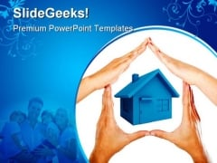 Hands Made House Family PowerPoint Themes And PowerPoint Slides 0411