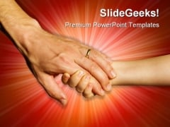 Hands Of Father And Child Family PowerPoint Templates And PowerPoint Backgrounds 0711