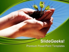 Hands With Plant Environment PowerPoint Templates And PowerPoint Backgrounds 0611