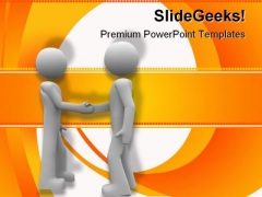 Handshake Business PowerPoint Template 0810