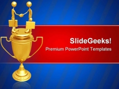 Handshake Trophy Business PowerPoint Templates And PowerPoint Backgrounds 0611