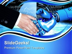 Handshake With Robot Communication PowerPoint Themes And PowerPoint Slides 0711