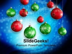 Hanging Balls Decorations Christmas PowerPoint Templates Ppt Backgrounds For Slides 1212