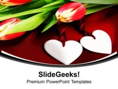 Happy Anniversary With Pair Of Heart PowerPoint Templates Ppt Backgrounds For Slides 0413