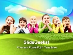 Happy Children PowerPoint Template 0910