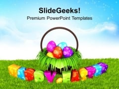 Happy Easter Eggs In Garden Theme PowerPoint Templates Ppt Backgrounds For Slides 0313
