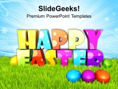 Happy Easter With Colored Eggs With Surprise PowerPoint Templates Ppt  Backgrounds For Slides 0313