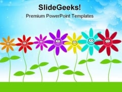Happy Flowers Nature PowerPoint Template 1110