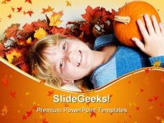 Happy Girl Nature PowerPoint Themes And PowerPoint Slides 0511