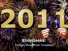 Happy New Year 2011 Festival PowerPoint Template 1010