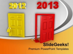 Happy New Year 2012 Door Locked 2013 Open PowerPoint Templates Ppt Backgrounds For Slides 0113
