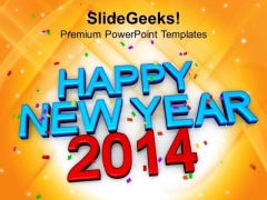 Happy New Year 2014 Concept PowerPoint Template 1113