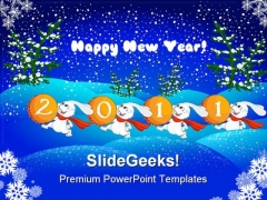 Happy New Year Abstract 2011 Festival PowerPoint Backgrounds And Templates 1210