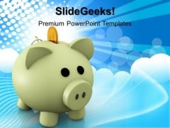 Happy Piggy Bank Savings PowerPoint Templates And PowerPoint Themes 1012