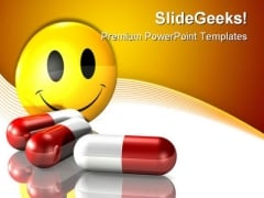 Happy Pills Medical PowerPoint Backgrounds And Templates 0111