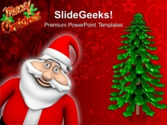 Happy Santa Claus With Tree Christmas Events PowerPoint Templates Ppt Backgrounds For Slides 1212