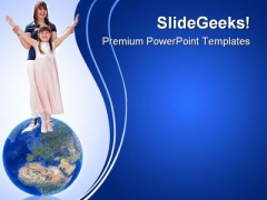 Happy Sisters Globe PowerPoint Templates And PowerPoint Backgrounds 0311