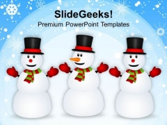 Happy Snowman Friends Holidays PowerPoint Templates Ppt Background For Slides 1112