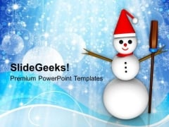 Happy Snowman With Broom Winter Holidays PowerPoint Templates Ppt Backgrounds For Slides 1112