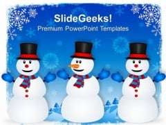 Happy Snowmen On Winter Background Holiday PowerPoint Templates Ppt Background For Slides 1112