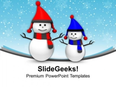 Happy Snowmen Winter Holidays PowerPoint Templates Ppt Backgrounds For Slides 0113
