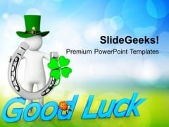 Happy St Patricks Day With Good Luck Holidays PowerPoint Templates Ppt Backgrounds For Slides 0313