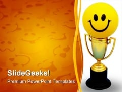 Happy Trophy Sports PowerPoint Template 0910