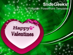 Happy Valentines With Heart And Bow Abstract PowerPoint Templates Ppt Backgrounds For Slides 0213