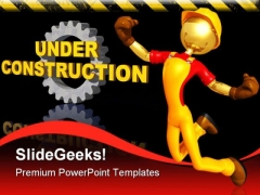 Happy Worker Under Construction PowerPoint Themes And PowerPoint Slides 0511
