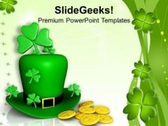 Hat And Shamrocks With Coins Patricks PowerPoint Templates Ppt Backgrounds For Slides 0313